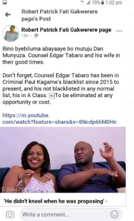 The post on Patrick Fati Gakwerere's Facebook page that was later confirmed by Edgar Tabaro