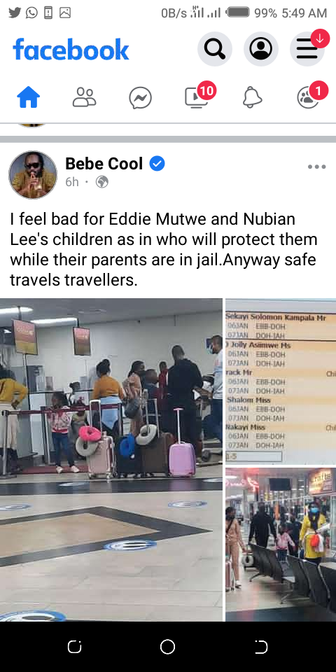 Bebe Cool's post about Bobi Wine flying his children to the U.S
