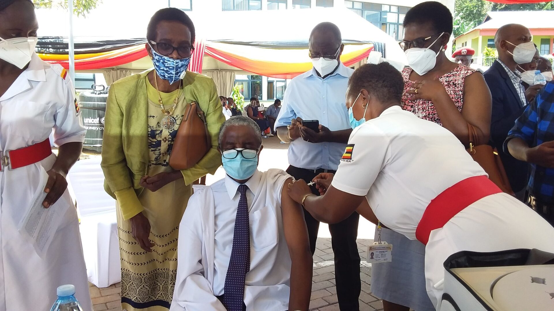 PHOTOS: Health Minister Aceng, PS Atwine, Frontline Health Workers First People To Receive COVID-19 Vaccine