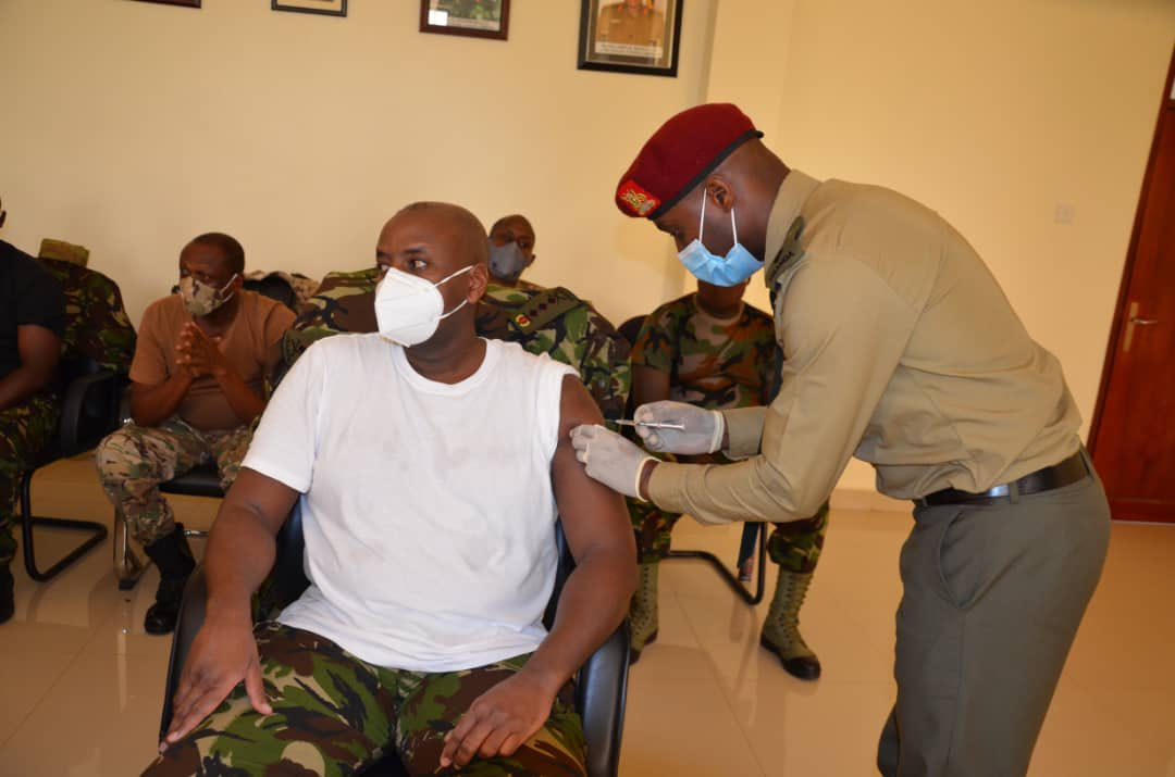 First Son Gen Muhoozi Takes First Jab Of COVID-19 Vaccine As Vaccination Of SFC Officers Kicks Off