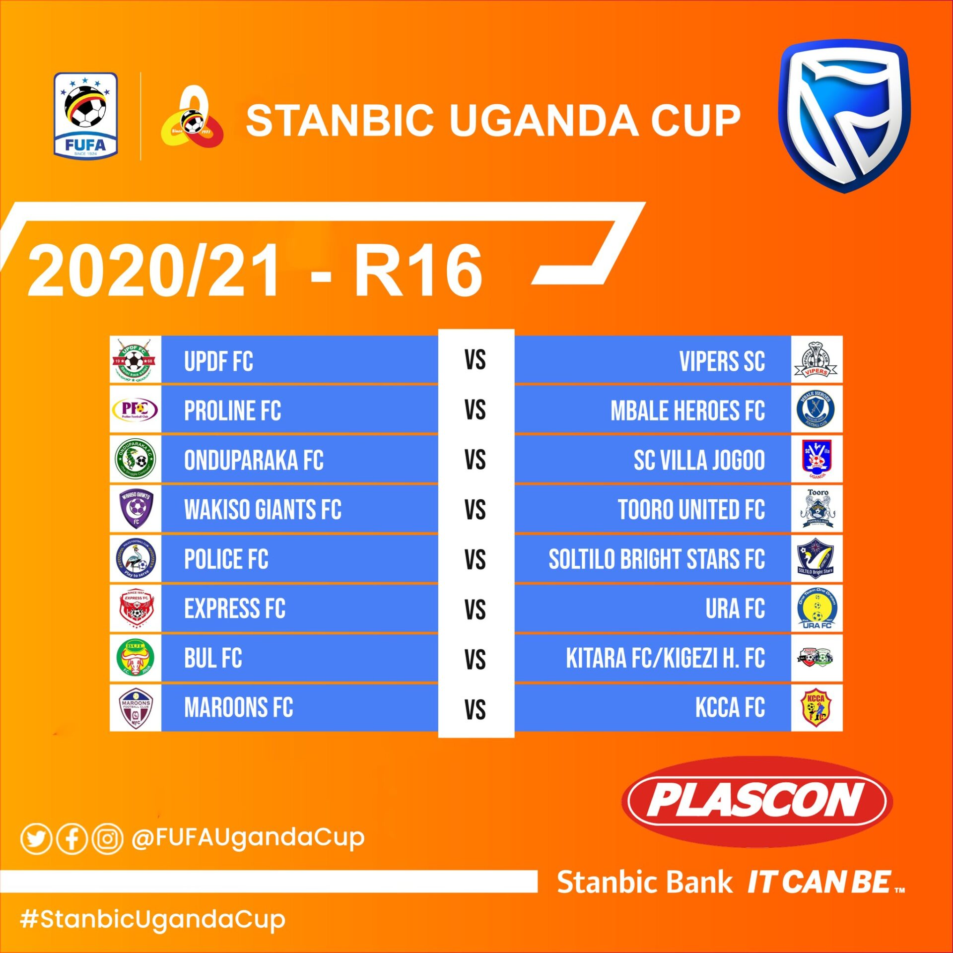 Stanbic Uganda Cup Round of 16: Express to host URA as KCCA make trip to Maroons among other fixtures