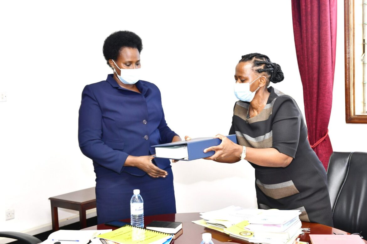 Lucy Nakyobe Hands Over Office To The New State House Comptroller Barekye